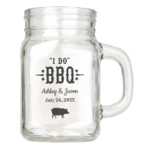I Do BBQ Rustic Black Pig Wedding Monogram Mason Jar