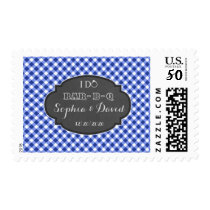 I DO BBQ Rustic Chalk Gingham Engagement Party Postage