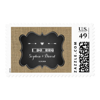 I DO BBQ Rustic Chalkboard Engagement Party Postage
