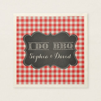 I DO BBQ Rustic Engagement Party Napkin