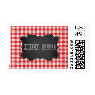 I DO BBQ Rustic Engagement Party Postage Stamp