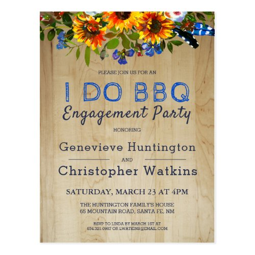 I DO BBQ Rustic Floral Barn Wood Engagement Party Postcard