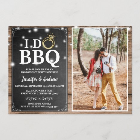 'I DO BBQ' Rustic Photo Engagement Party Invitation