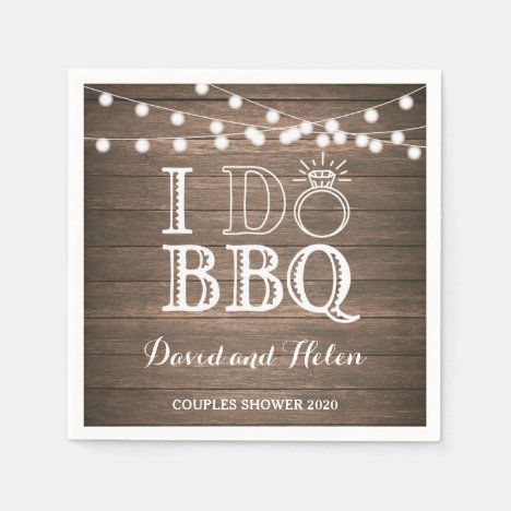 I DO BBQ Rustic Wedding Engagment Napkin