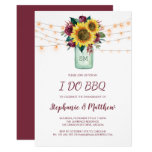 I Do BBQ Sunflower Burgundy Rose Lights Engagement Invitation
