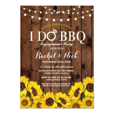 WOWWOWMEOW I DO BBQ Sunflower Couples Shower Rustic Invite