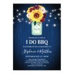 I Do BBQ Sunflower Mason Jar Blue Wood Lights Invitation