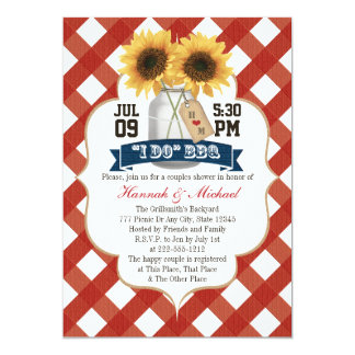 I Do BBQ Sunflower Mason Jar Couples Shower Card