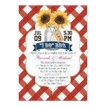 I Do BBQ Sunflower Mason Jar Couples Shower Invitation