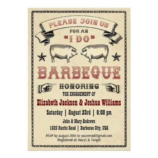 I DO BBQ - Vintage Pig Roast Invitation