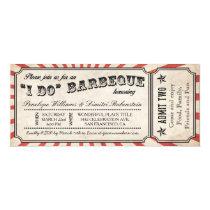 I DO BBQ Vintage Ticket Invitations