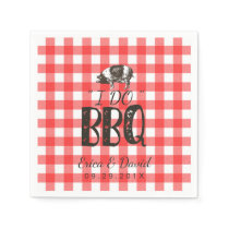 I Do BBQ Wedding Party Red Gingham Pig Roast Paper Napkins