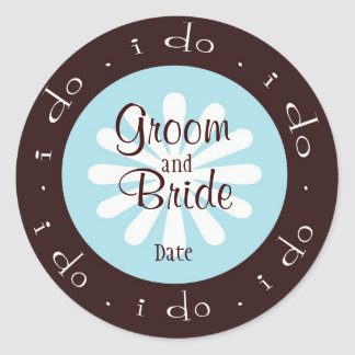 """""""i do"""" Blue and Brown Personalized Wedding Sticker"""