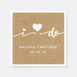 I Do Burlap Rustic Wedding Paper Napkin