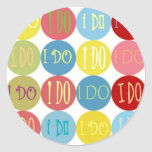 I DO COLORED DOTS ROUND STICKERS