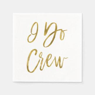 I Do Crew Faux Gold Foil and White Paper Napkin