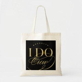 I Do Crew Gold Script Wedding Party Name Tote Bag