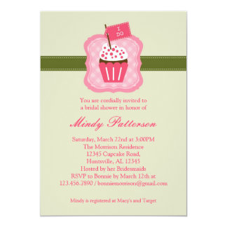 """I Do"" Cupcake Bridal Shower Invitation 5"" X 7"" Invitation Card"