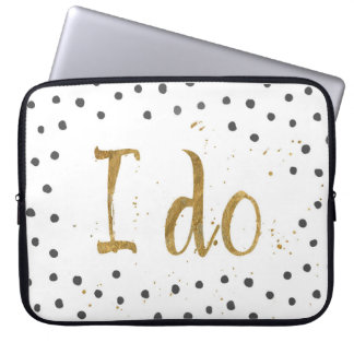 """I do"" Faux Gold Dot Decorative Laptop Sleeve"