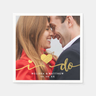 I Do Faux Gold Photo Wedding Paper Napkin