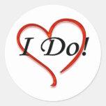 I do! heart classic round sticker