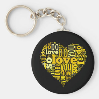 I do Love You Yellow Black Heart Shape Lyrics Art Basic Round Button Keychain