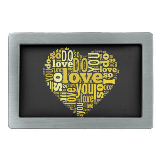 I do Love You Yellow Black Heart Shape Lyrics Art Belt Buckle