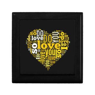 I do Love You Yellow Black Heart Shape Lyrics Art Jewelry Box