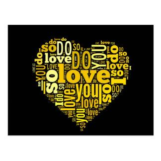 I do Love You Yellow Black Heart Shape Lyrics Art Postcard