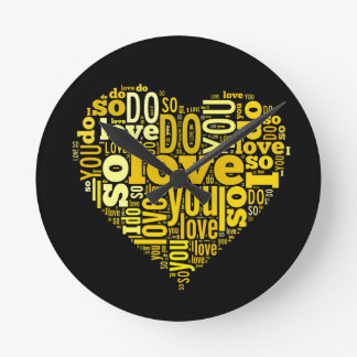 I do Love You Yellow Black Heart Shape Lyrics Art Round Clock