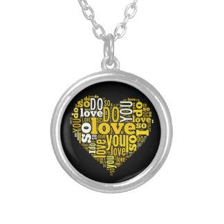 I do Love You Yellow Black Heart Shape Lyrics Art Round Pendant Necklace