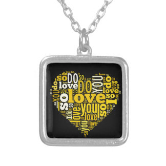 I do Love You Yellow Black Heart Shape Lyrics Art Square Pendant Necklace