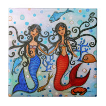 I do, Mermaid Couple Painting by Prisarts Ceramic Tile