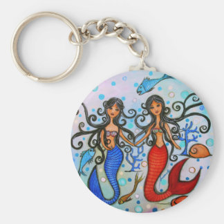 I do, Mermaid Couple Painting by Prisarts Keychain