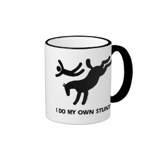 I Do My Own Stunts™  Horse: humorous picture of a Ringer Coffee Mug