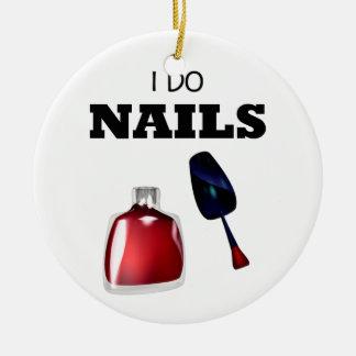 I Do Nails(Nail Technician) Double-Sided Ceramic Round Christmas Ornament