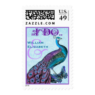 I DO - Purple and Blue Wedding Vintage Peacock Postage Stamp