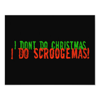 I Do Scroogemas, Green and Red 4.25x5.5 Paper Invitation Card