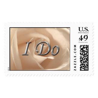 I Do Silver Wedding Rustic Cream Rose Background Postage Stamp