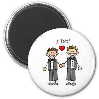 I Do Two grooms 2 Inch Round Magnet