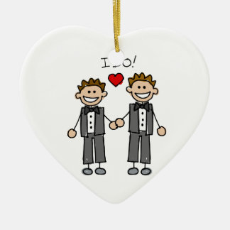 I Do Two grooms Double-Sided Heart Ceramic Christmas Ornament