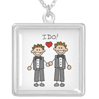 I Do Two grooms Square Pendant Necklace
