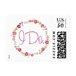 I Do - Watercolor Floral Wreath Postage Stamp