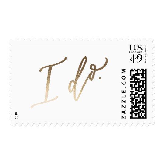 I Do Wedding Calligraphy Stamp Gold Foil Zazzle