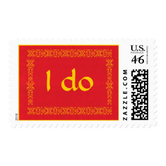 I do, wedding postage stamps, red and gold