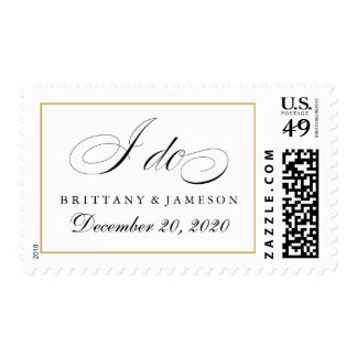 """I do"" Wedding Stamps Gold Border and Date"
