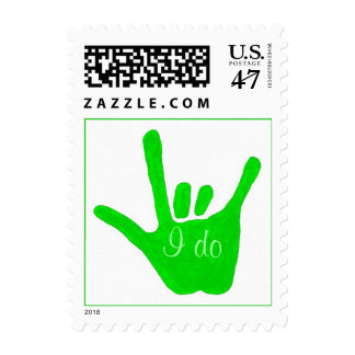 I do, Wedding Stamps green love hand sign language