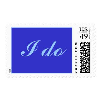 I do, wedding stamps, light blue on royal blue postage
