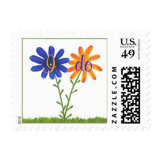 I do, wedding stamps with blue and orange flowers