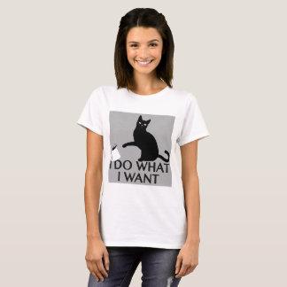 """I do what I want"" black cat tee shirt"